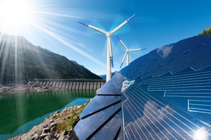 Renewable Energy - Sunlight Wind Rain