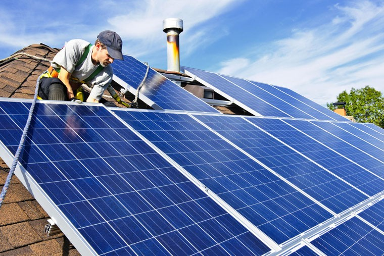 A rooftop solar photovoltaic installation
