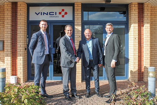 Scott Van Der Vord (Chief Financial Officer, VINCI Energies UK & RoI), Rochdi Ziyat (CEO, VINCI Energies UK & RoI), Andy Stevens (Managing Director, Nouveau Solutions Ltd) and Russell Crampin (Managing Director, Axians UK).